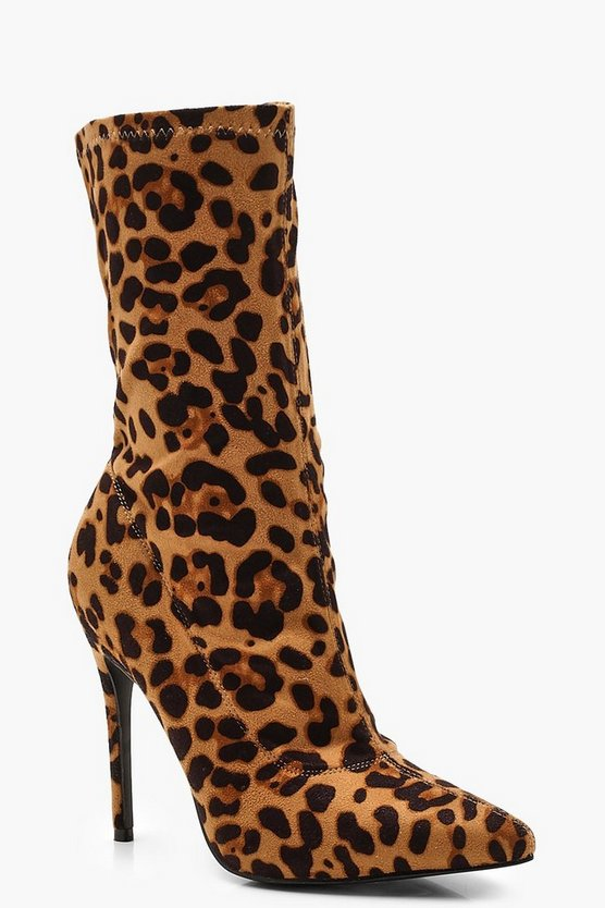Womens Leopard Pointed Sock Boots