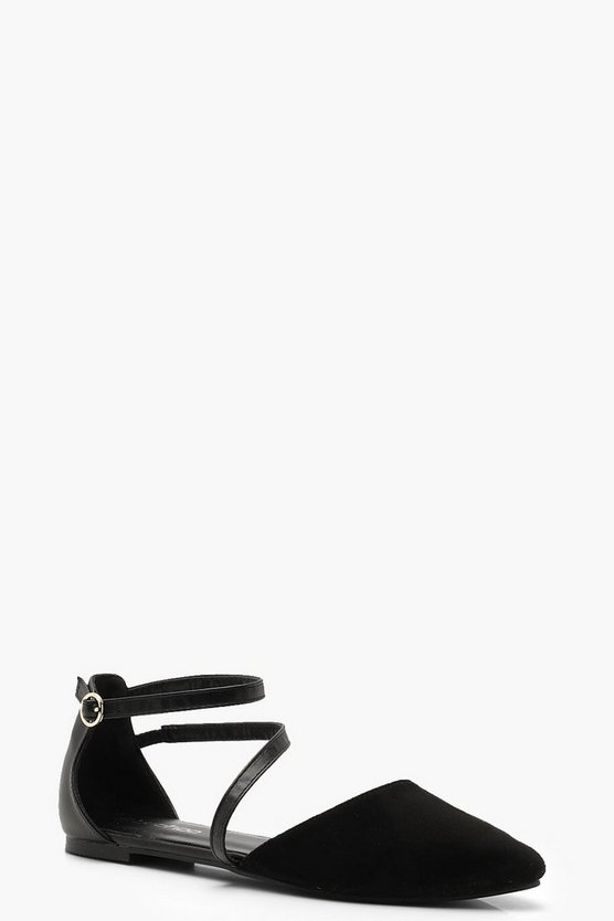 Asymmetric Strap Pointed Flats by Boohoo