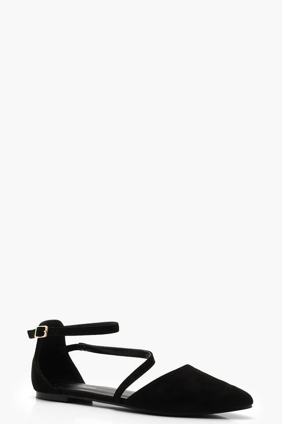 Womens Black Asymmetric Strap Pointed Flats
