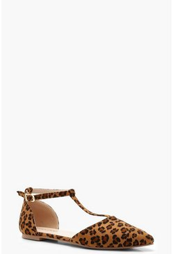 Womens Leopard Print T Bar Pointed Flats