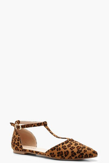 Leopard Print T Bar Pointed Flats
