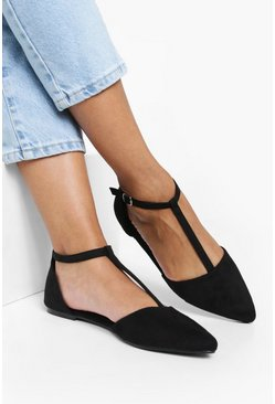 Womens Black T Bar Pointed Flats