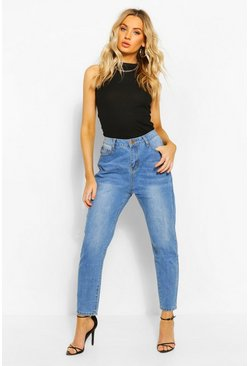 Womens Mid blue High Waist Mom Jeans
