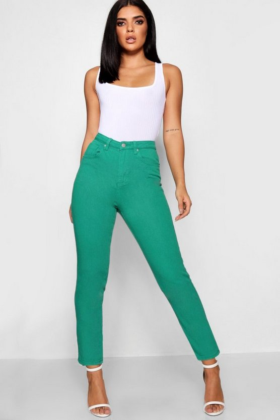Womens Green High Rise Colour Mom Jeans