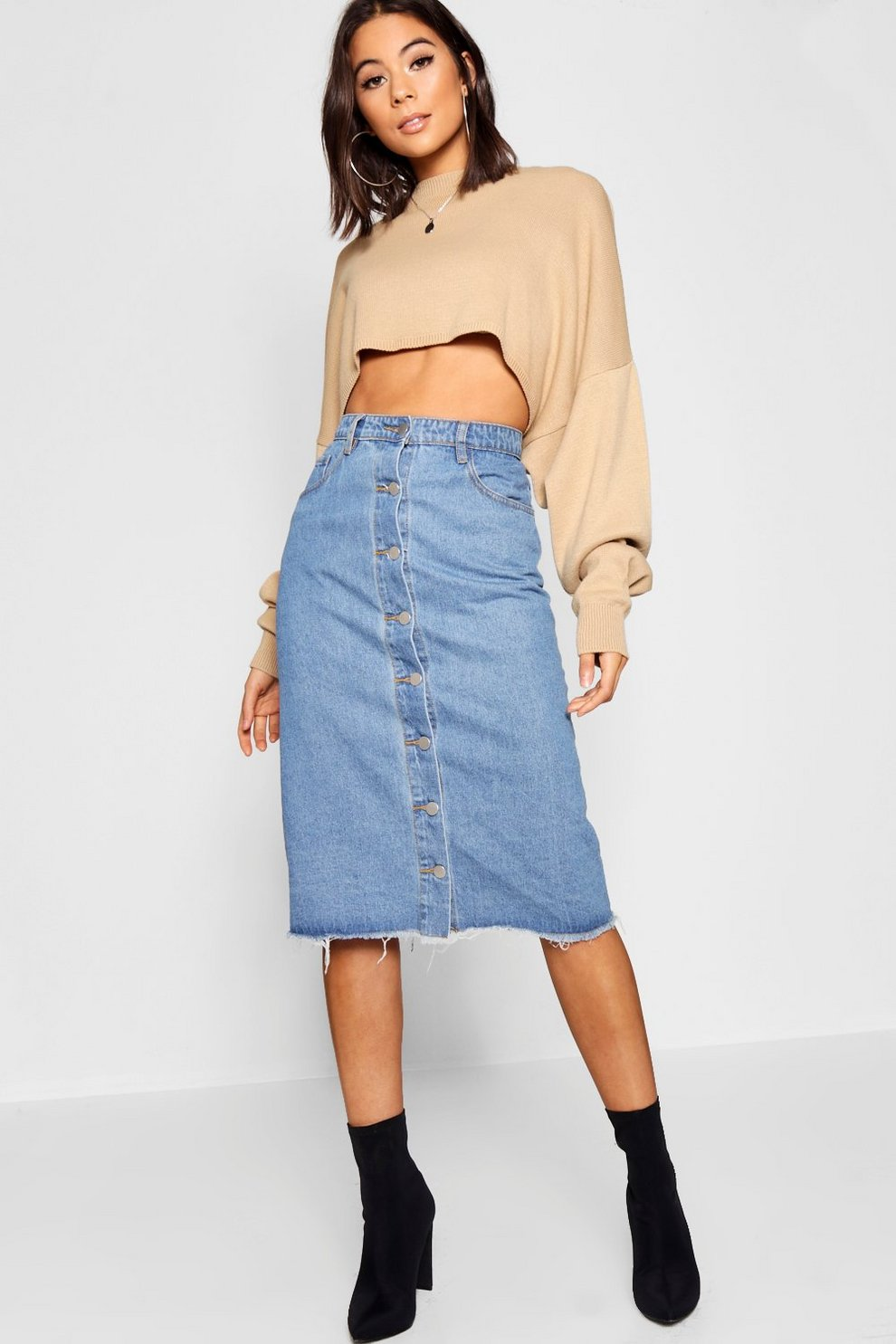 2637cc461 Button Through Denim Midi Skirt | Boohoo