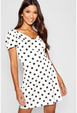 Womens Black Spot Print Wrap Front Puff Sleeve Dress