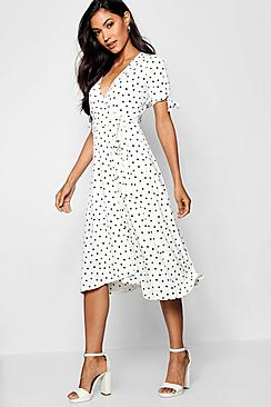 Polka Dot Dresses: 20s, 30s, 40s, 50s, 60s Polka Dot Midi Wrap Dress $40.00 AT vintagedancer.com