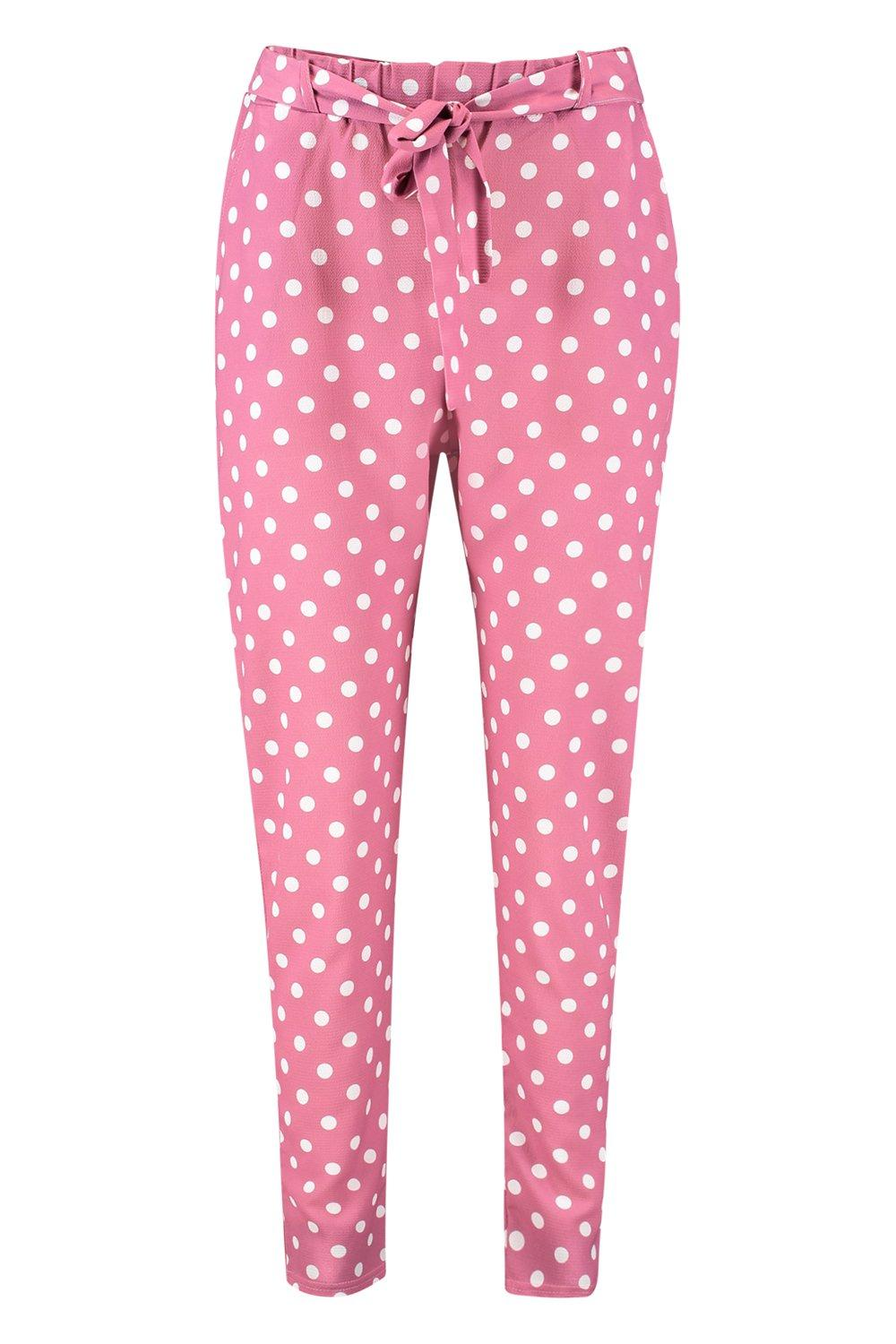 Tapered Trousers Dot Waist rose Polka Woven pink Tie x8qcXI