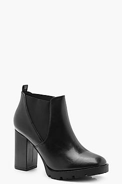 Wide Fit Chunky Cleated Shoe Boots