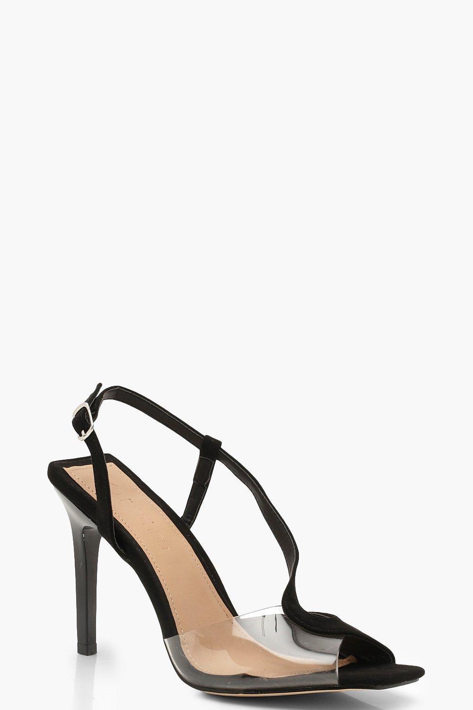 Clear Panel Asymmetric Square Toe Heels