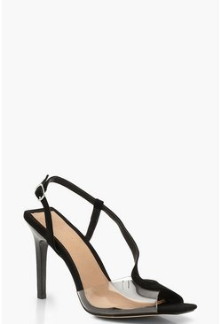 Womens Black Clear Panel Asymmetric Square Toe Heels