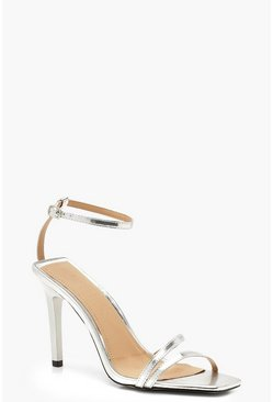 Womens Silver Cage Strap Square Toe Heels