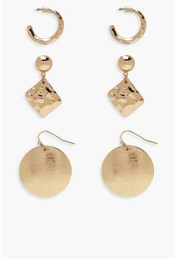 Womens Gold Textured Mixed Earring Pack