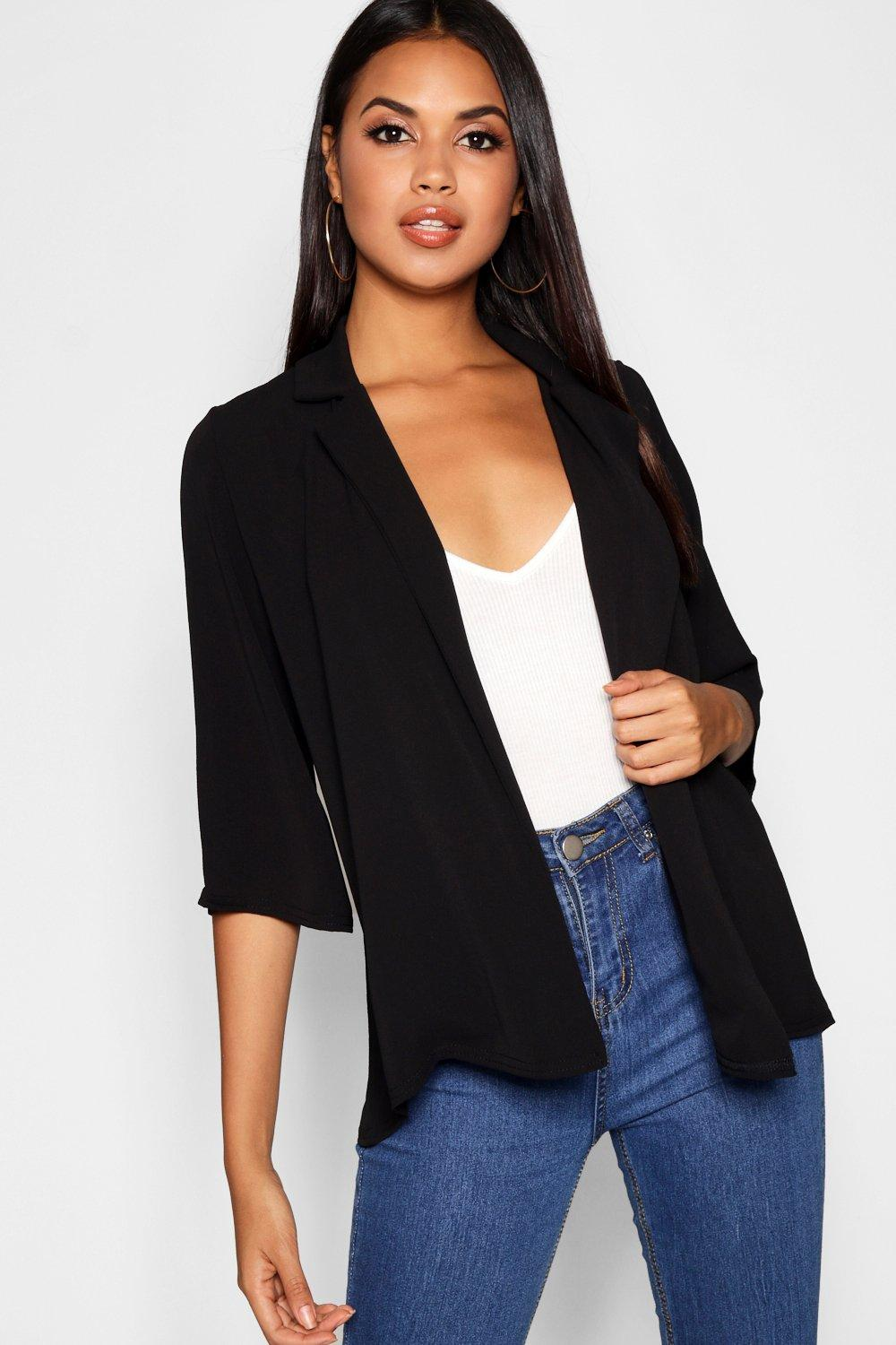 Loose Collared black black Jacket Collared Fit Loose Jacket Loose Fit Collared Fit UU0Bq