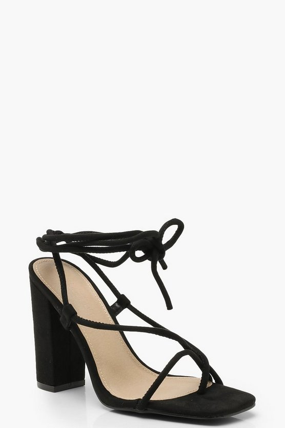 Wrap Strap Square Toe Block Heels, Black, Donna