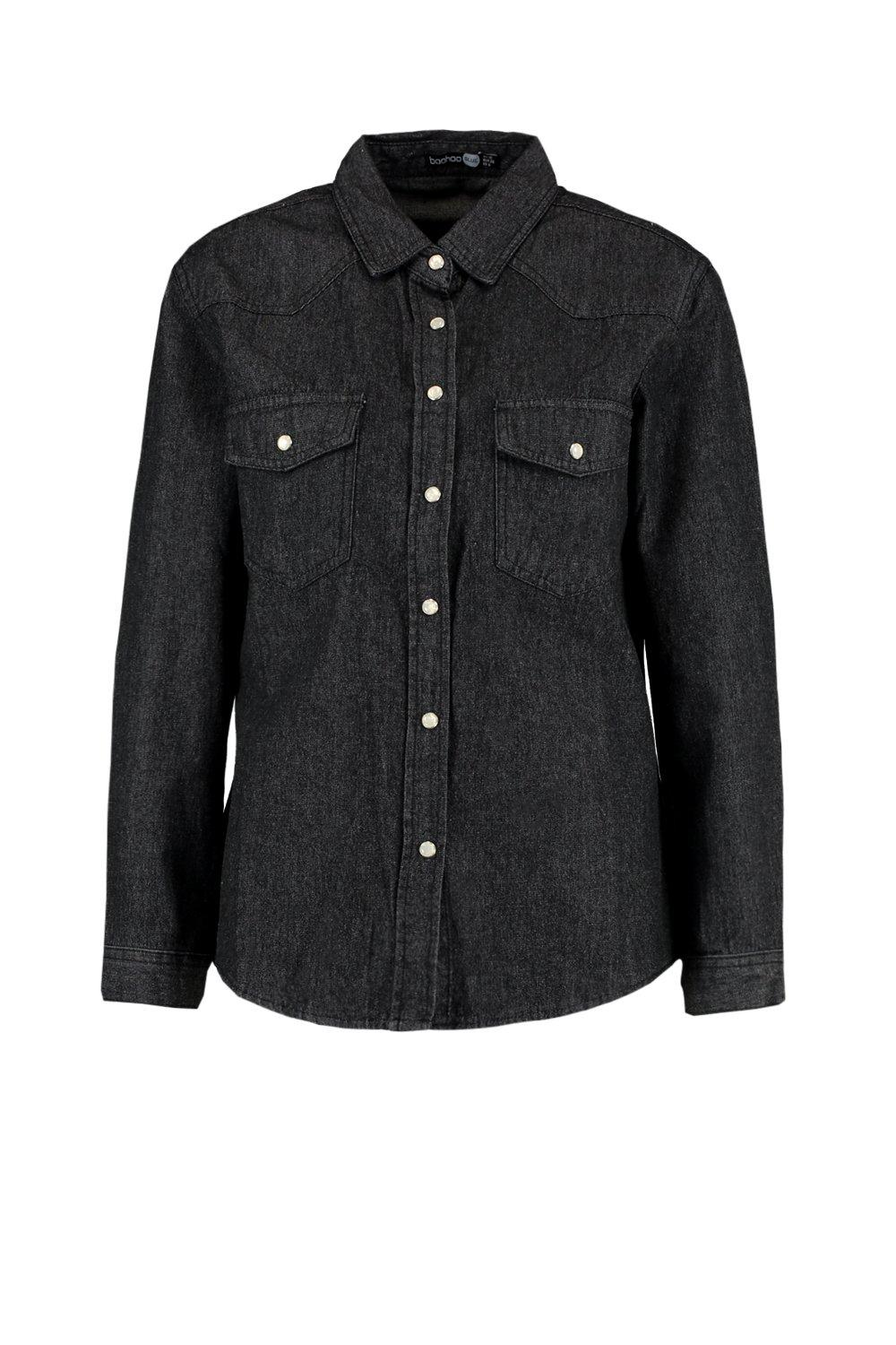 washed black Denim Slim Fit Shirt Western ZwqT1IU