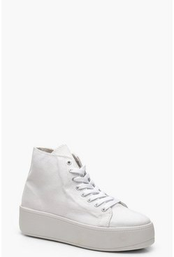 Platform High Top Trainers, White, Donna