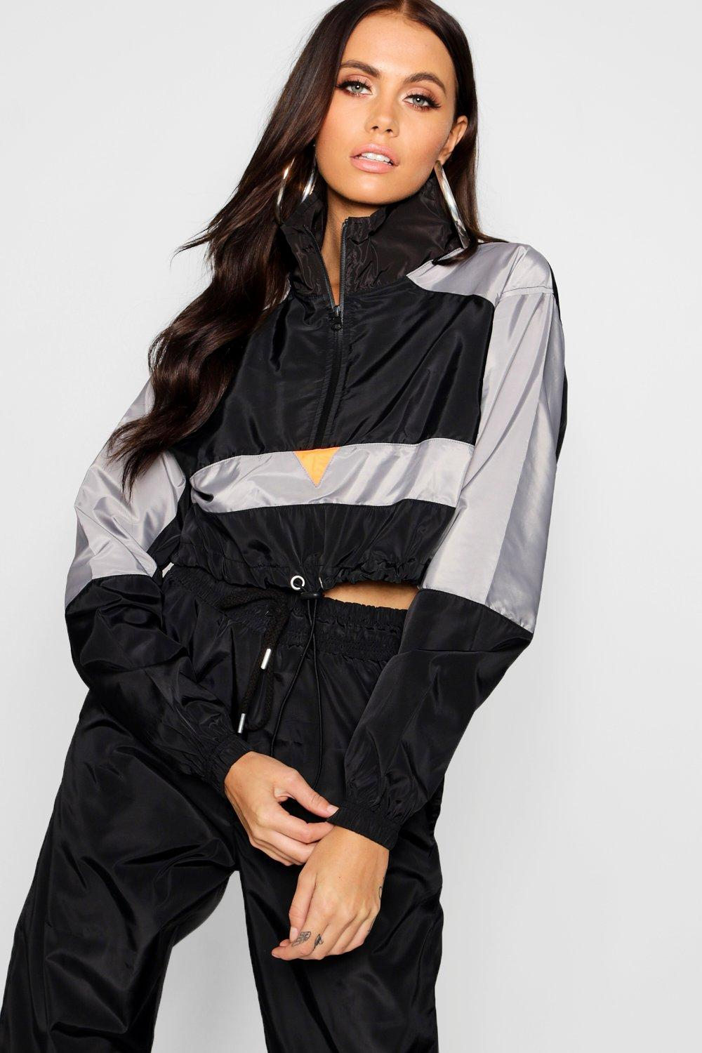 grey Colour Block Top Shell Tracksuit FppSqRX