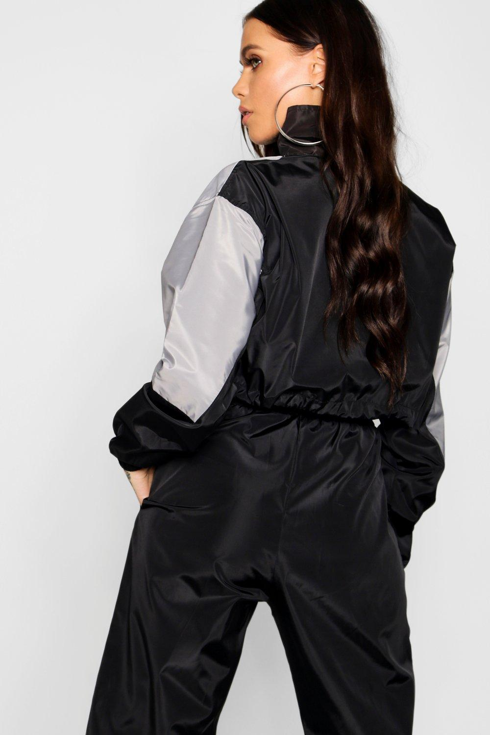 grey Colour Block Top Shell Tracksuit TqwzxZwvSY