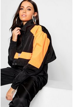 Womens Neon-orange Colour Block Shell Tracksuit Top