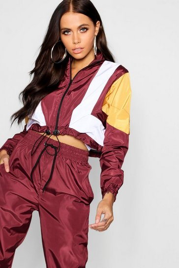 Womens Wine Colour Block Shell Tracksuit Top