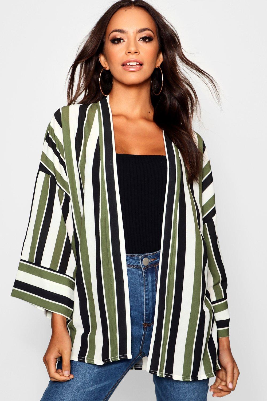 Stripe Contrast Cuff Kimono