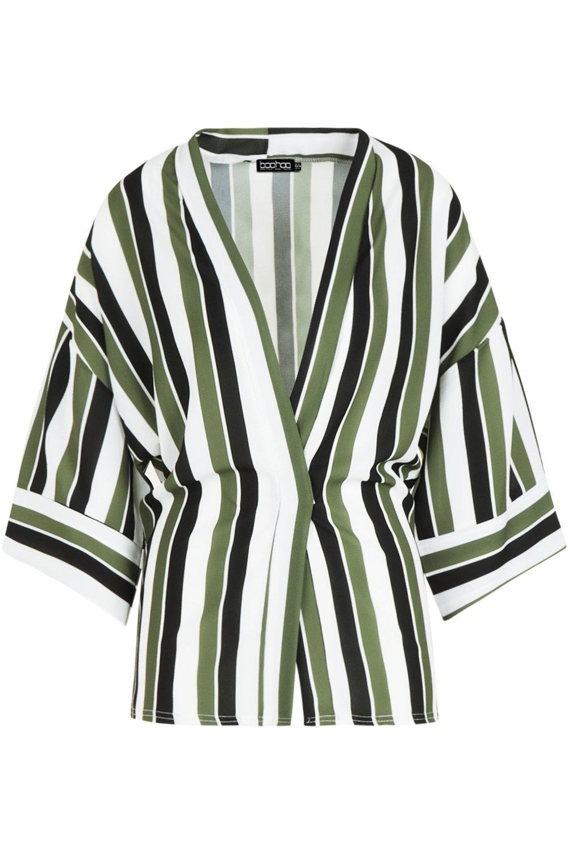khaki Contrast Kimono Stripe Stripe Contrast Cuff SYUnFwHxX