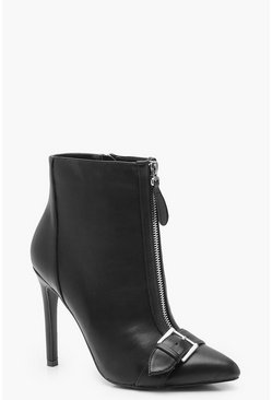 Womens Black Pointed Toe Buckle Stiletto Shoe Boots