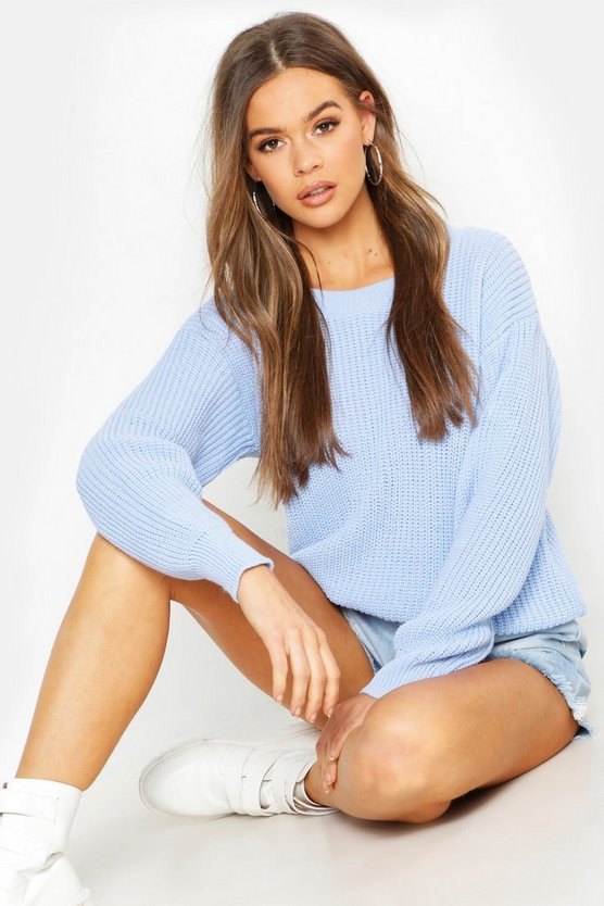 Womens Blue Oversized Sweater