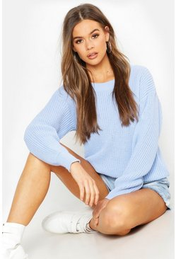 Womens Blue Oversized Jumper