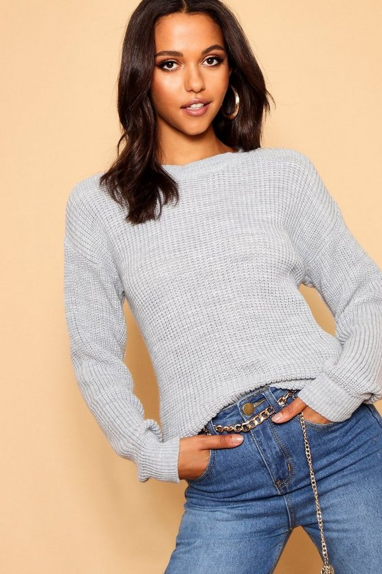 Womens Silver Oversized Jumper