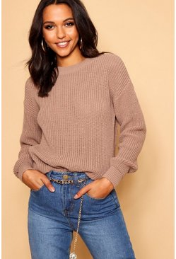 Womens Taupe Oversized Sweater