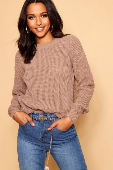 Womens Taupe Oversized Jumper