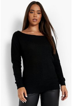 Black Slash Neck Fisherman Sweater