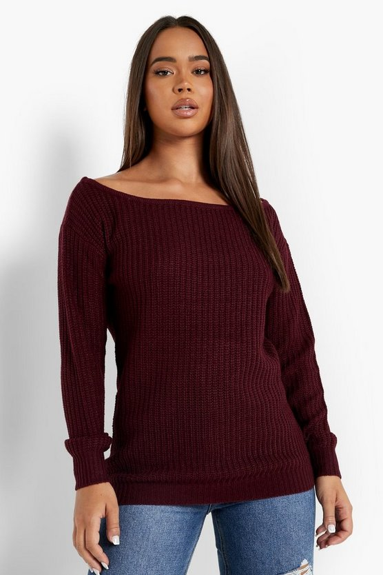 Burgundy Slash Neck Fisherman Sweater