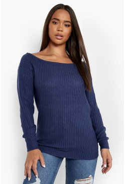 Womens Denim-blue Slash Neck Fisherman Sweater