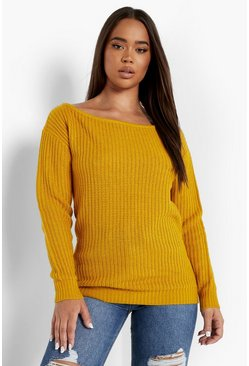Womens Mustard Slash Neck Fisherman Jumper