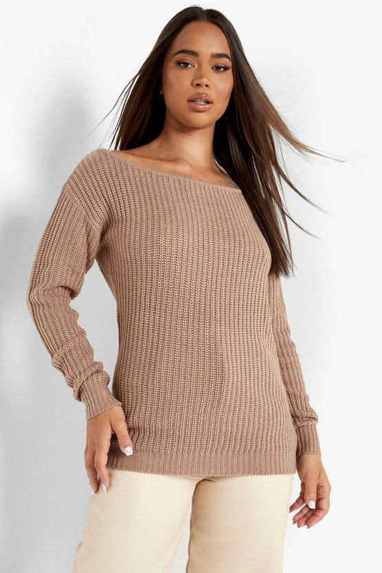 Womens Taupe Slash Neck Fisherman Sweater