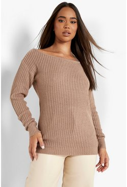 Womens Taupe Slash Neck Fisherman Jumper