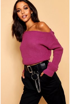 Womens Pink Slash Neck Crop Fisherman Jumper