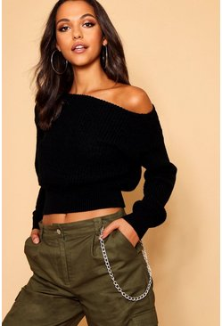 Womens Silver Slash Neck Crop Fisherman Jumper