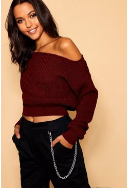 Burgundy Slash Neck Crop Fisherman Jumper