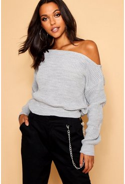Silver Slash Neck Crop Fisherman Jumper
