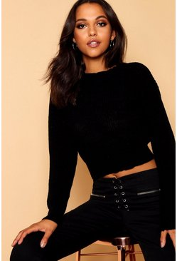 Black Crop Fisherman Sweater
