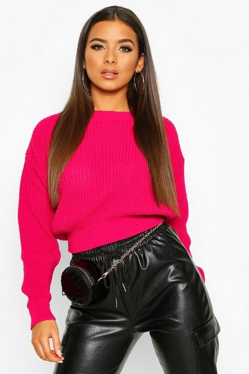 Cerise Crop Fisherman Jumper