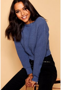 Denim-blue Crop Fisherman Sweater