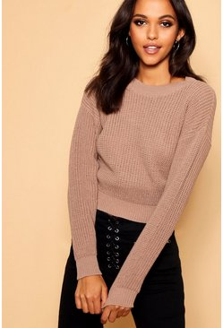 Womens Taupe Crop Fisherman Sweater