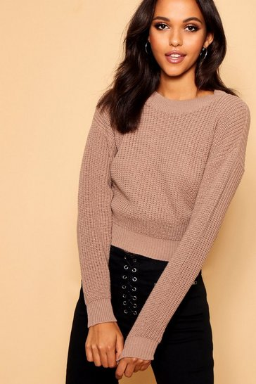 Taupe Crop Fisherman Jumper