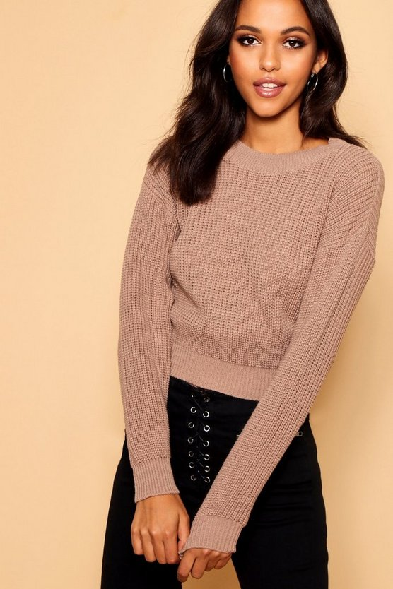 Womens Taupe Crop Fisherman Jumper