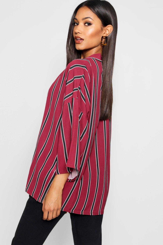 mustard Stripe Kimono Stripe Oversized Oversized wxqIFq0R